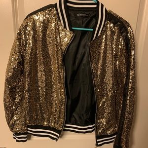 SHEIN Black and Gold Sequin Jacket